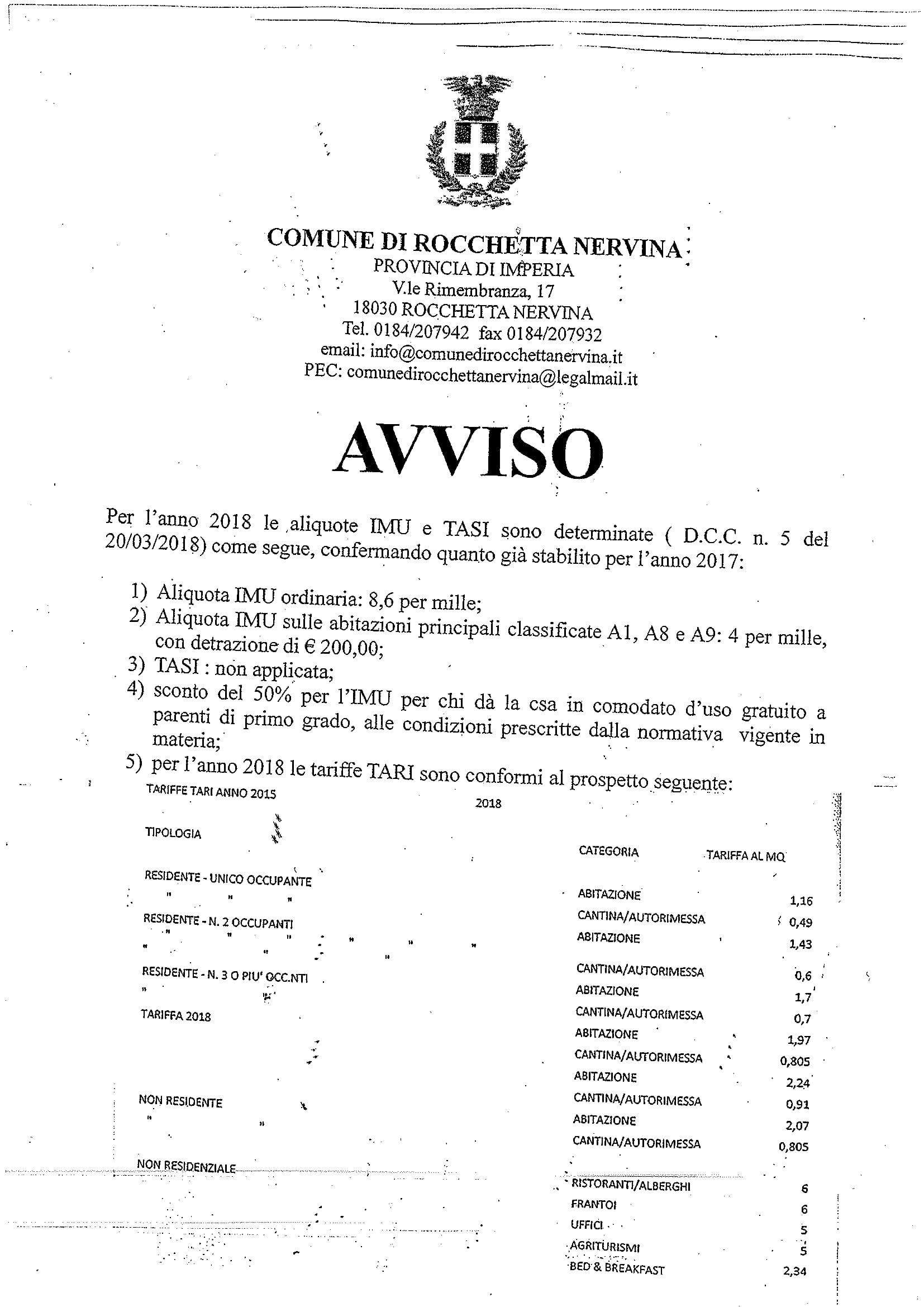 AVVISO aliquote-1