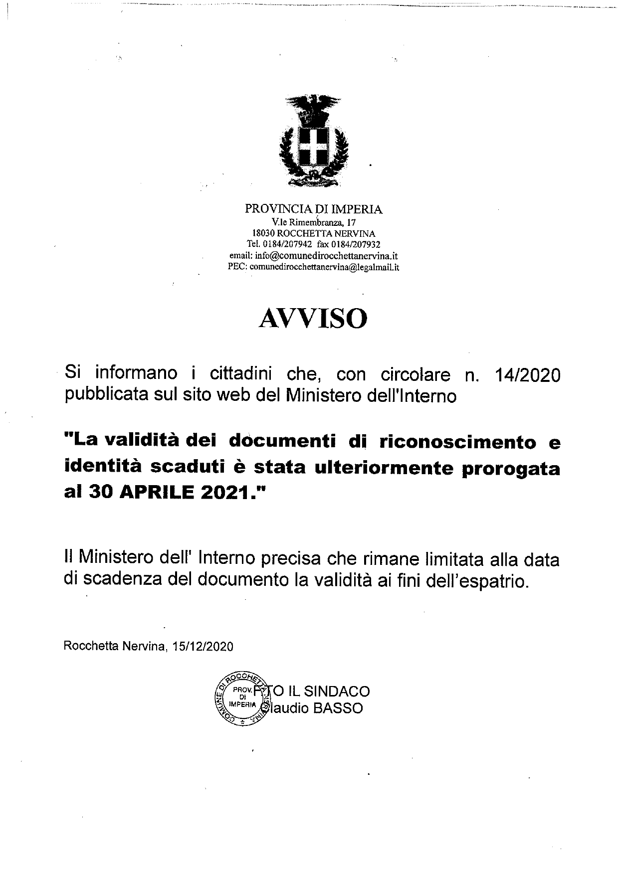 Avviso proroga Carta d'Identità al 30 aprile_page-0001