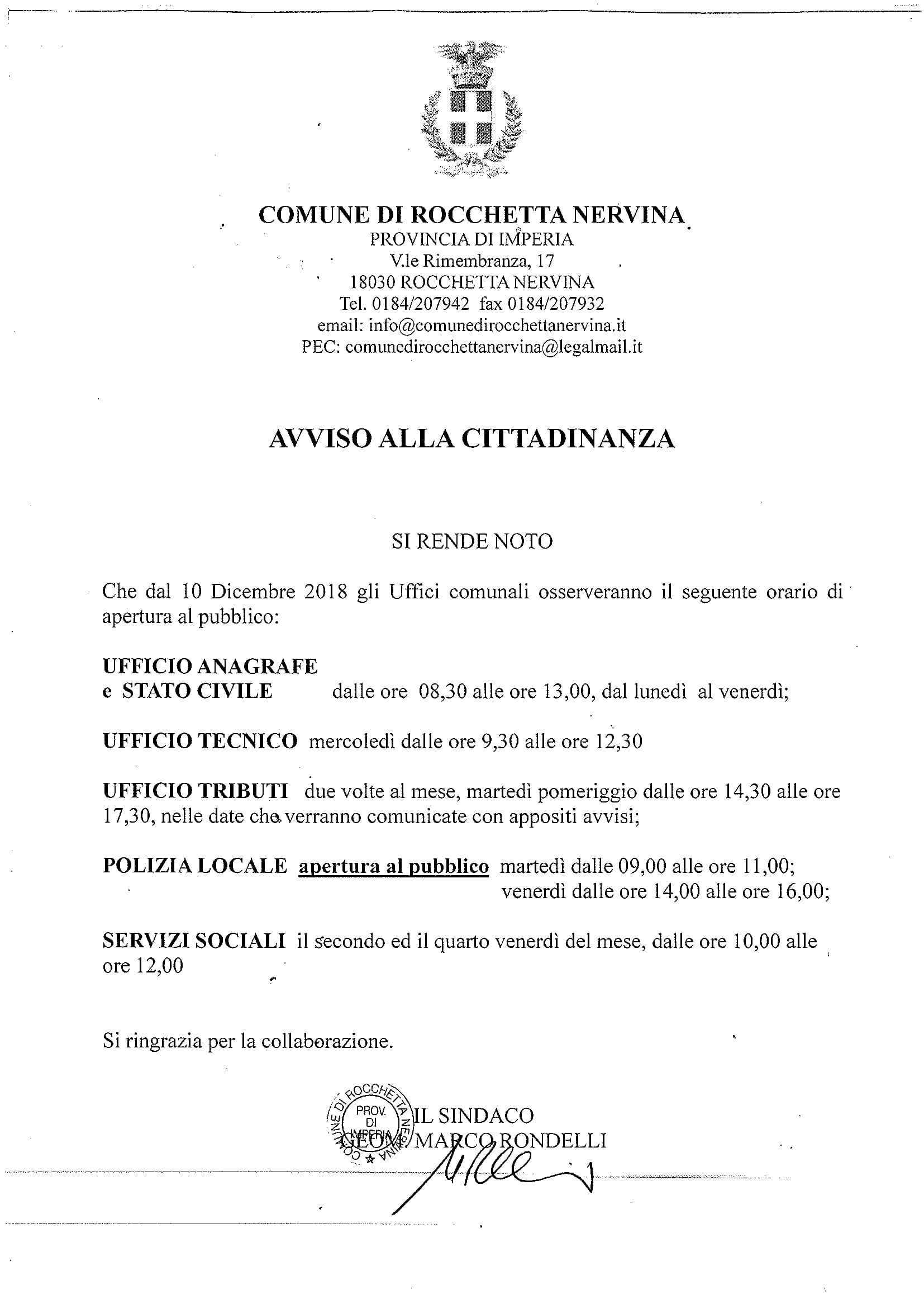 NUOVO ORARIO APERTURA UFFICI COMUNALI-1
