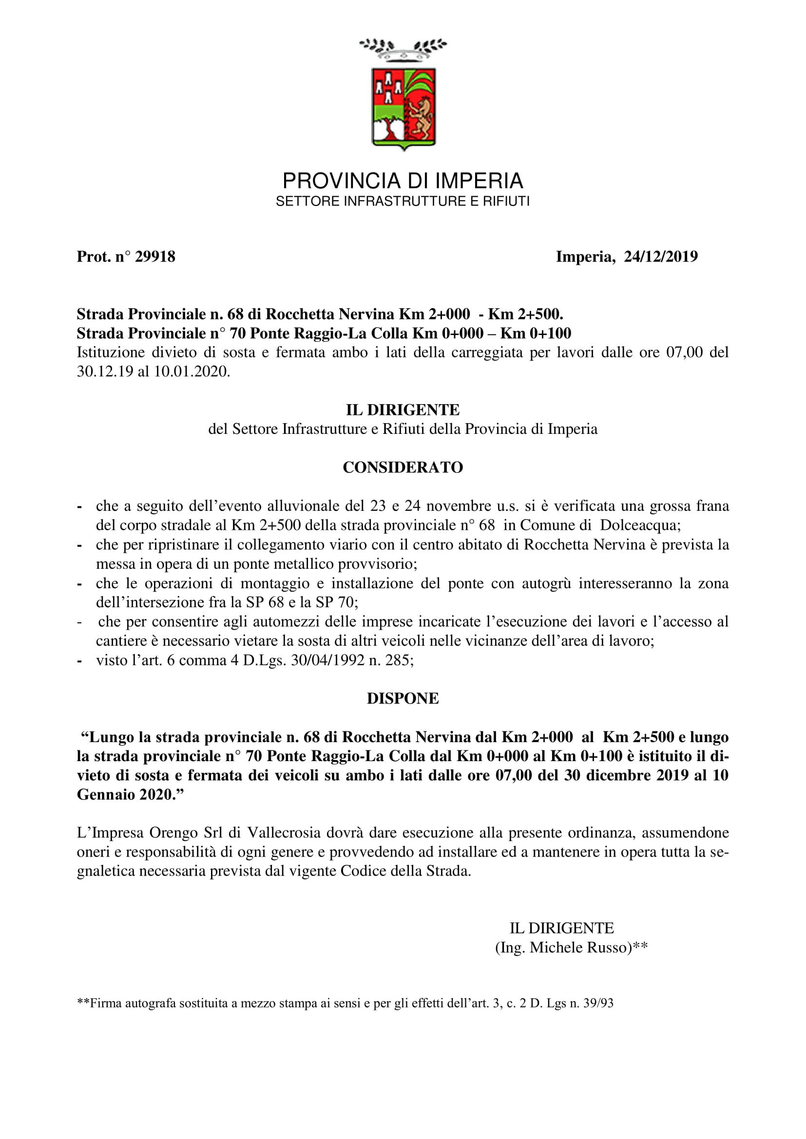 S.P. 68 km 2+500 divieto di sosta e fermata per lavori-1
